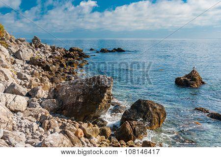 Black Sea shore at fall season natural reserve on Cape Martyan in Crimea