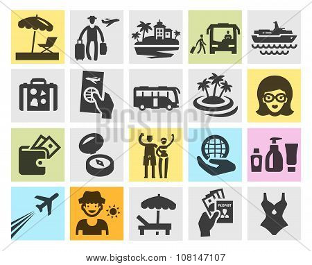 travel set black icons. signs and symbols