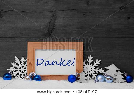 Blue Gray Christmas Decoration, Snow, Danke Mean Thank You