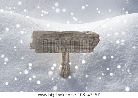Christmas Sign Snow And Snowflakes Copy Space