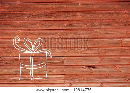 Concept Illustration Of One Gift, Copy Space, Wooden Background
