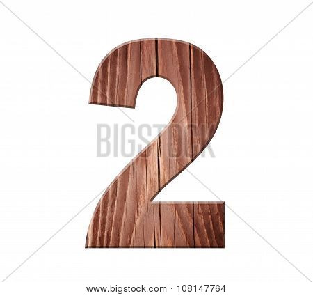 Wooden Digit One Symbol - 2. Isolated On White Background