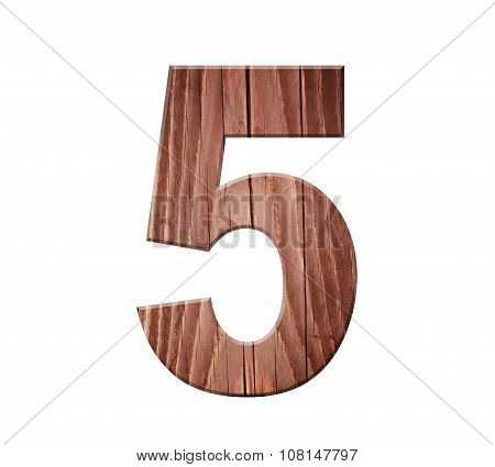Wooden Digit One Symbol - 5. Isolated On White Background