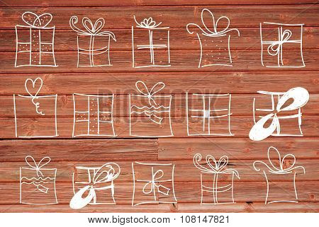 Concept Illustration Of Gifts, Copy Space, Wooden Background