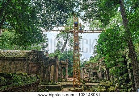 Reconstruction Of Ancient Khmer Architecture In Jungle.