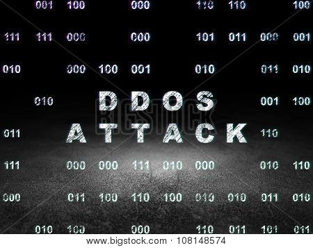Protection concept: DDOS Attack in grunge dark room