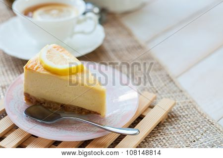A Slice Of Lemon Cheesecake.