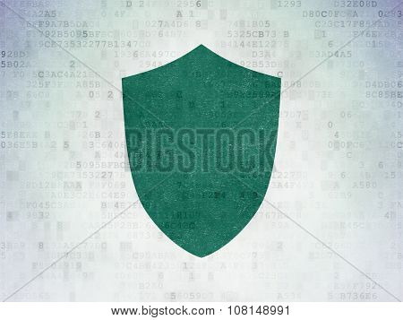 Security concept: Shield on Digital Paper background