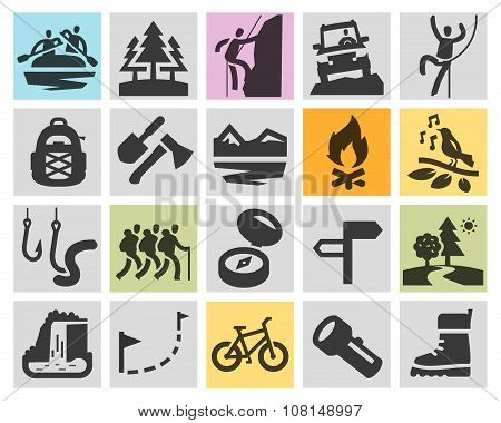 trip, hiking vector logo design template. camping or sport, recreation icons