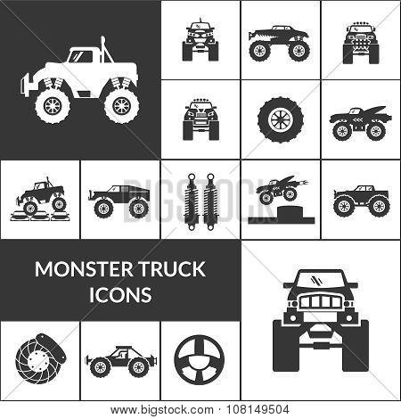 Monster Truck Icons Set