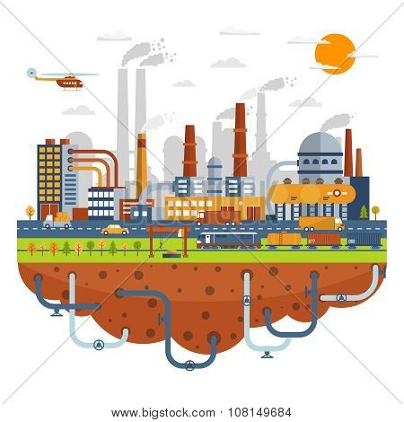Industrial City Concept With Chemical Plants