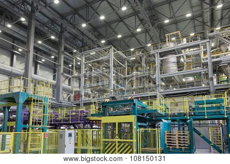 packing area of a chemical factory