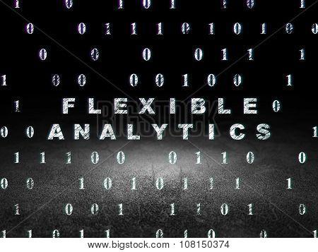 Business concept: Flexible Analytics in grunge dark room