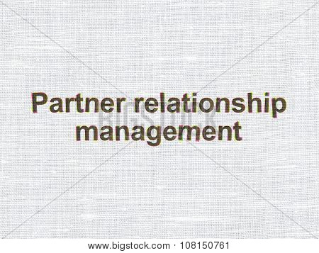 Business concept: Partner Relationship Management on fabric texture background