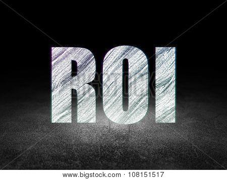 Business concept: ROI in grunge dark room