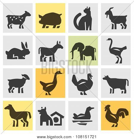 farm animals icons set. signs and symbols
