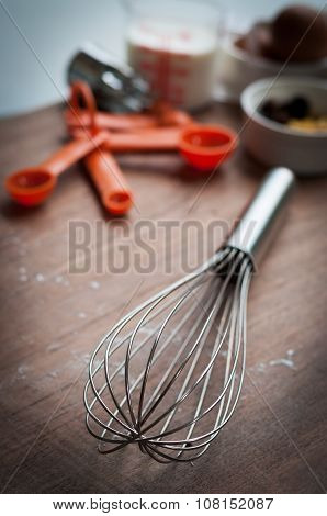 Baking Tools On Wooden Table
