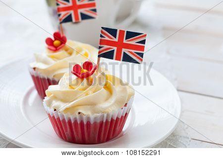 Red Velvet Cupcake With British Flag
