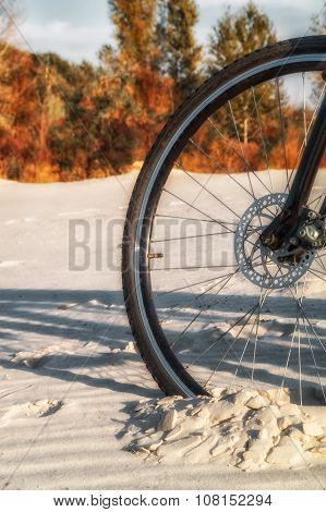 Bicycle Wheel Is Deeply Stuck In The Sand