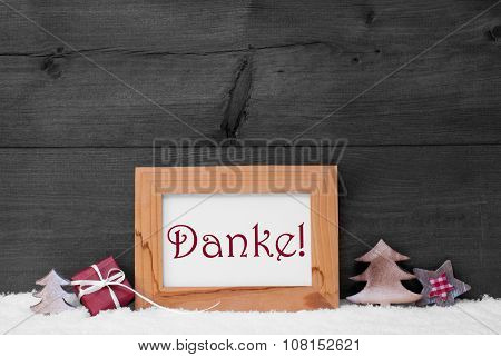 Gray Frame With Christmas Decoration, Snow, Danke Mean Thank You
