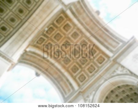 Defocused Background Of Arc De Triomphe In Paris. Intentionally Blurred Post Production