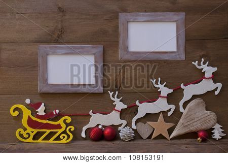 Santa Claus Sled, Reindeer, Christmas Decoration, Frames