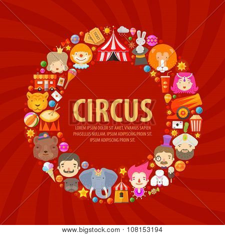 CIRCUS ICONS SET. Collection of elements of clown, circus dome, lion, magician, elephant, tiger, tam