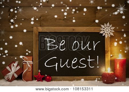 Christmas Card, Blackboard, Snowflakes, Candles, Be Our Guest