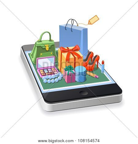 Mobile online shopping of  woman accessories concept. gift boxes, pomade, shoes, bag and cosmetics l