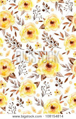 Watercolor floral seamless pattern with yellow flowers and leafs.