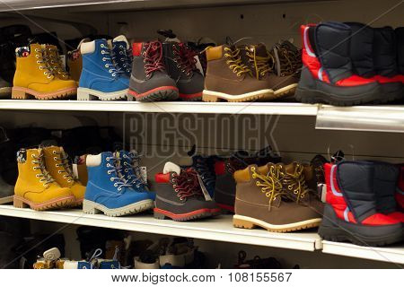 Boots On Shelf In Store