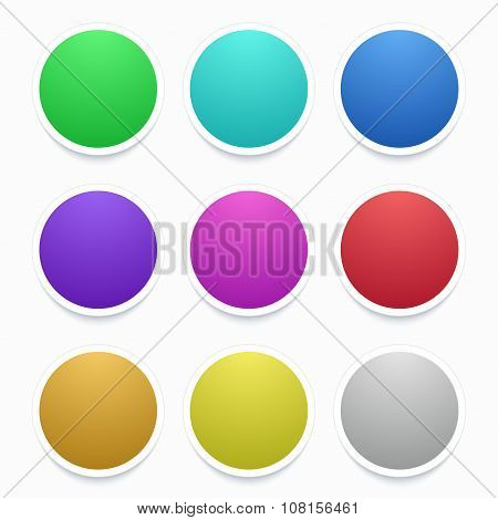 Vector colorful circle stickers set on white