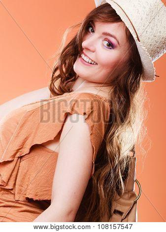 Lovely Woman In Summer Hat Portrait
