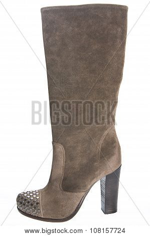 Women's Brown Suede High-heeled Boots..