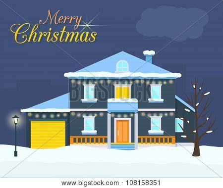 Big house with christmas light and decoration.