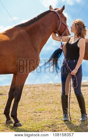 Young Woman Girl Taking Care Of Horse.