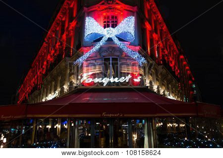 The Christmas Decorations On Fouquets Resatuarant, Paris, France.