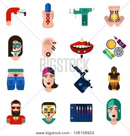 Bodyart Tattoo Piercing Icons Set
