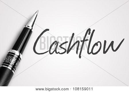Black Pen Writes Cashflow On White Blank Paper