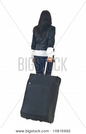 Back Of Businesswoman With Luggage
