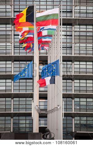 European Union Flags And France Flag Flies At Half-mast