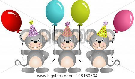 Birthday mouses with balloons
