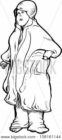 Outline Of Woman In Bathrobe