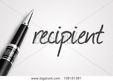 Pen Writes Recipient  On Paper