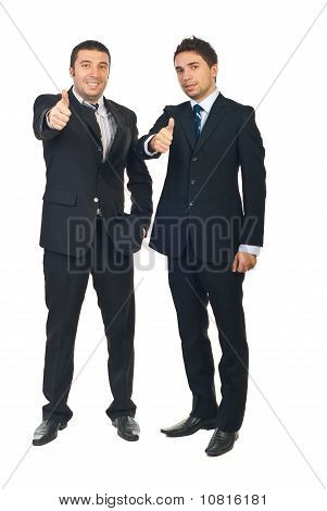 Successful Businessmen Team Give Thumbs