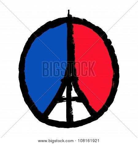 Pray For Paris. Freehand Sketch Illustration. 13 November 2015