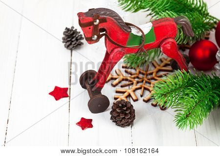 Christmas decoration with fir and pinecone on wooden board. Illustration