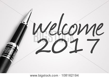 Pen Writes 2017 Welcome On Paper