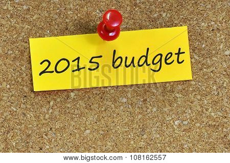 2015 Budget  Word On Notes Paper With Cork Background