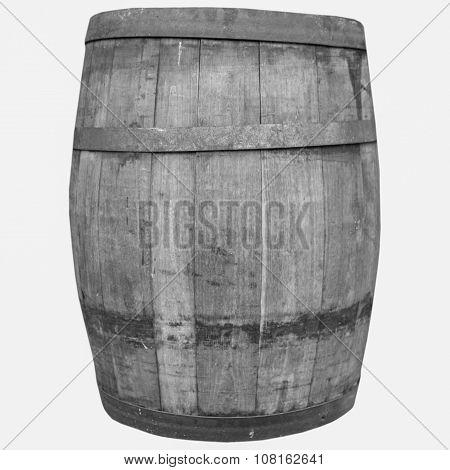 Black And White Wine Or Beer Barrel Cask